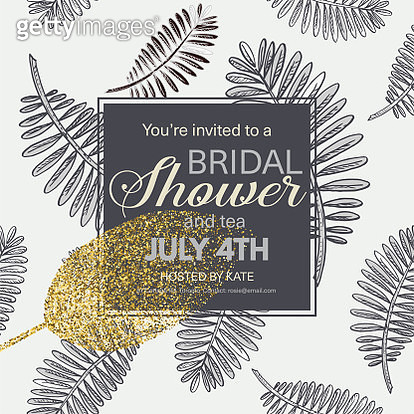 Tropical Leaves Invitation Template - gettyimageskorea