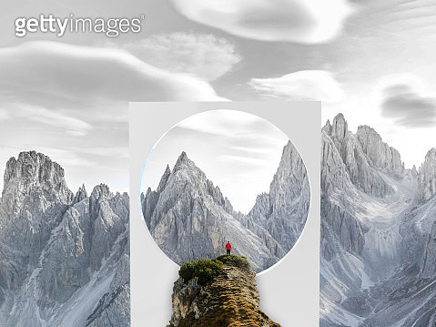Creative picture of huge geometric shape with circle in middle of nature with Dolomites mountains and hiker. - gettyimageskorea