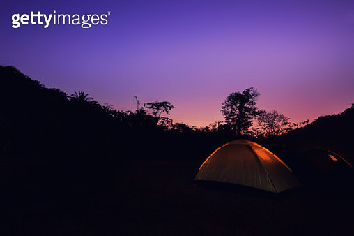 Camping Tent at Night. - gettyimageskorea