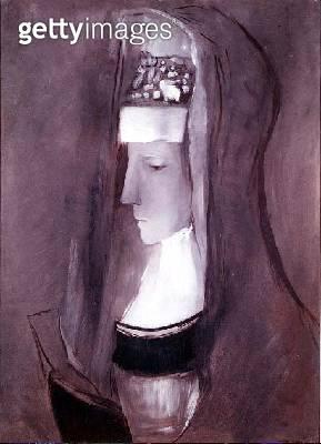 <b>Title</b> : Profile of a Breton Woman (oil on board)<br><b>Medium</b> : oil on board<br><b>Location</b> : Private Collection<br> - gettyimageskorea
