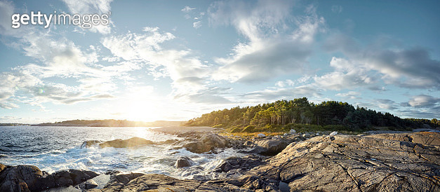 Coastline panoramic at sunset, Norway - gettyimageskorea