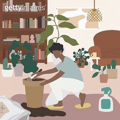 Lovely young women taking care plants - gettyimageskorea