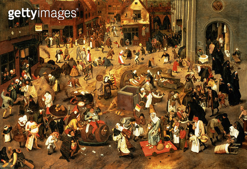 <b>Title</b> : The Battle between Carnival and Lent (oil on canvas)<br><b>Medium</b> : oil on canvas<br><b>Location</b> : Private Collection<br> - gettyimageskorea