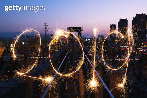 New year number with sparklers - gettyimageskorea
