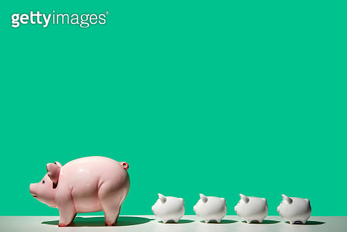 4 small white piggy banks behind large white piggy bank on white surface, green background, side view - gettyimageskorea