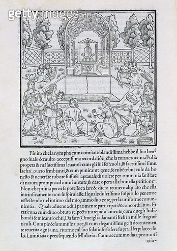 <b>Title</b> : Nymphs with the Lover of Polia, illustration from a copy of 'Hypnerotomachia Poliphili' by Francesco Colonna (c.1432-1527) (wood<br><b>Medium</b> : woodcutClassificationMUSIC UP TO 16TH CENTURYKeywordsgarden  fountain  Renaissance  Poliphil - gettyimageskorea
