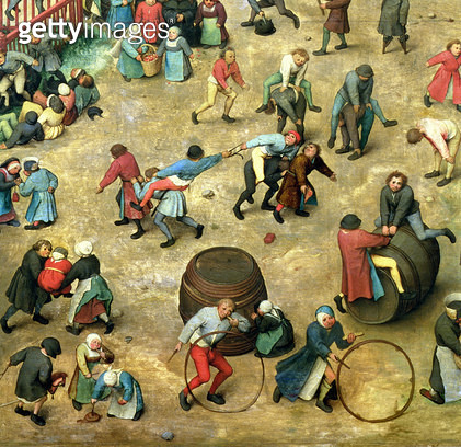 <b>Title</b> : Children's Games (Kinderspiele): detail of bottom section showing various games, 1560 (oil on panel) (detail of 68945)<br><b>Medium</b> : oil on panel<br><b>Location</b> : Kunsthistorisches Museum, Vienna, Austria<br> - gettyimageskorea