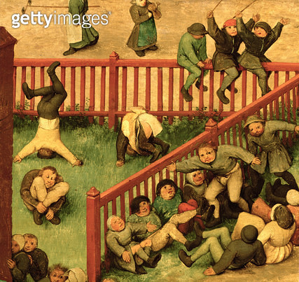 <b>Title</b> : Children's Games (Kinderspiele): detail of left-hand section showing children running the gauntlet, doing gymnastics and balancing on a fence, 1560 (oil on panel) (detail of 68945)<br><b>Medium</b> : oil on panel<br><b>Location</b> : Kunsth - gettyimageskorea