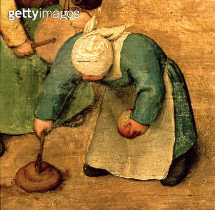 <b>Title</b> : Children's Games (Kinderspiele): detail of a girl playing with a spinning top, 1560 (oil on panel) (detail of 68945)<br><b>Medium</b> : oil on panel<br><b>Location</b> : Kunsthistorisches Museum, Vienna, Austria<br> - gettyimageskorea