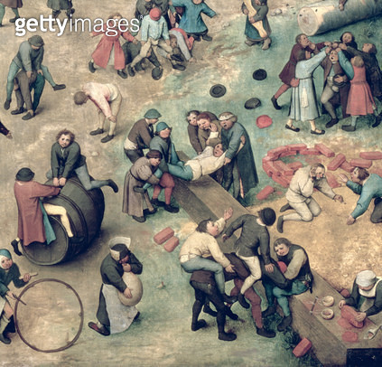 <b>Title</b> : Children's Games (Kinderspiele): detail of bottom right-hand corner depicting children playing with bricks, hoops and a barrel, 1560 (oil on panel) (detail of 68945)<br><b>Medium</b> : oil on panel<br><b>Location</b> : Kunsthistorisches Mus - gettyimageskorea
