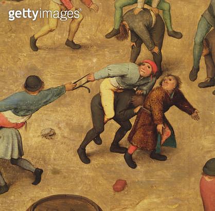 <b>Title</b> : Children's Games (Kinderspiele): detail of children on piggy-back, 1560 (oil on panel) (detail of 68945)<br><b>Medium</b> : oil on panel<br><b>Location</b> : Kunsthistorisches Museum, Vienna, Austria<br> - gettyimageskorea