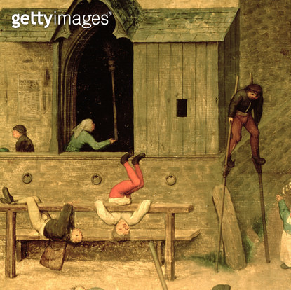 <b>Title</b> : Children's Games (Kinderspiele): detail of a boy on stilts and children playing in the stocks, 1560 (oil on panel) (detail of 68945)<br><b>Medium</b> : oil on panel<br><b>Location</b> : Kunsthistorisches Museum, Vienna, Austria<br> - gettyimageskorea