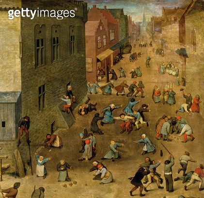 <b>Title</b> : Children's Games (Kinderspiele): detail of top right hand corner, 1560 (oil on panel) (detail of 68945)<br><b>Medium</b> : oil on panel<br><b>Location</b> : Kunsthistorisches Museum, Vienna, Austria<br> - gettyimageskorea