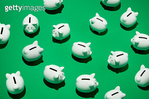 16 small white piggy banks placed randomly on green surface, high angle of view - gettyimageskorea