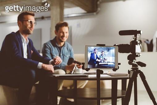 Business men making a vblog - gettyimageskorea