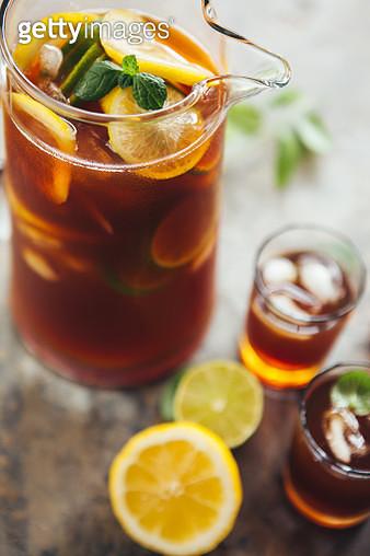 Lemon Ice Tea, Pitcher and Glass - gettyimageskorea