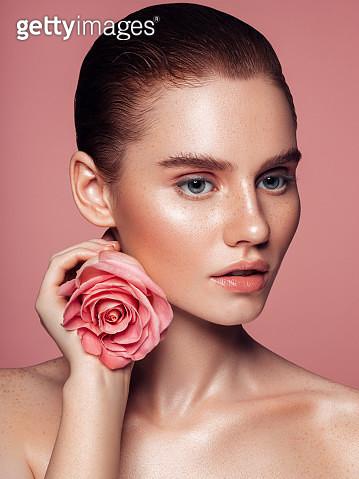 Close-up beautiful girl's face portrait - gettyimageskorea