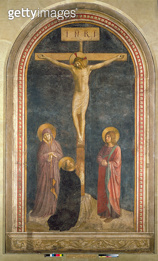 <b>Title</b> : Crucifixion with the Virgin, SS. John the Evangelist and Dominic from the Convent of San Marco, Fiesole, 1442 (fresco)<br><b>Medium</b> : fresco<br><b>Location</b> : Louvre, Paris, France<br> - gettyimageskorea