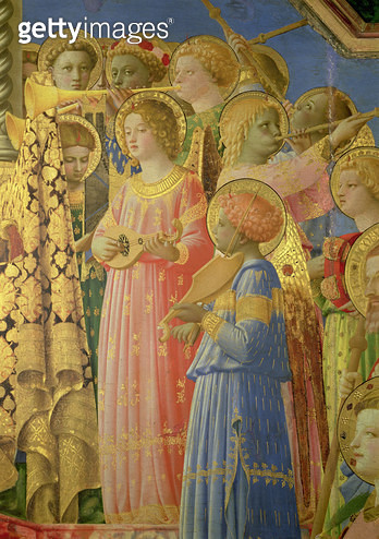 <b>Title</b> : The Coronation of the Virgin, detail showing musical angels, c.1430-32 (oil on panel) (detail of 60319)<br><b>Medium</b> : oil on panel<br><b>Location</b> : Louvre, Paris, France<br> - gettyimageskorea