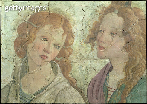 <b>Title</b> : Venus and the three Graces Offering Gifts to a Young Girl, detail of one the graces, c.1483 (fresco) (detail from 33760) (see al<br><b>Medium</b> : fresco<br><b>Location</b> : Louvre, Paris, France<br> - gettyimageskorea