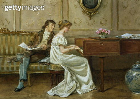 The New Spinet (pencil, watercolour & gouache on paper) - gettyimageskorea