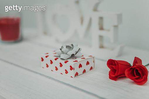 valentines gift box on desk - gettyimageskorea