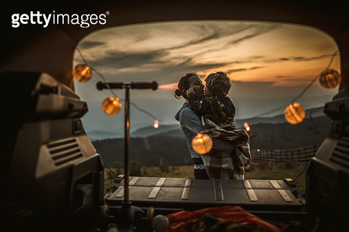 Mother and son enjoing in nature - gettyimageskorea
