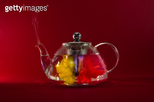glass teapot and acrylics colors - gettyimageskorea