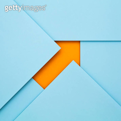 Sheets of paper forming an arrow - gettyimageskorea
