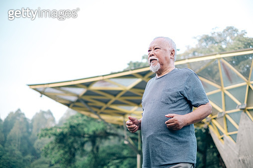 Active Malaysian Senior Man at The Park - gettyimageskorea