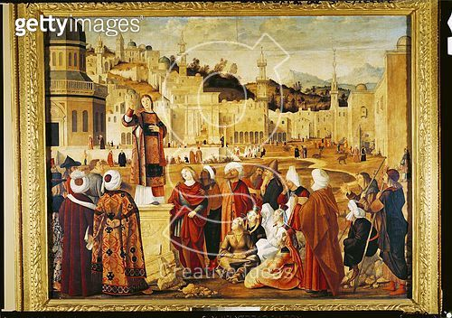 <b>Title</b> : St. Stephen Preaching (oil on canvas)<br><b>Medium</b> : oil on canvas<br><b>Location</b> : Louvre, Paris, France<br> - gettyimageskorea