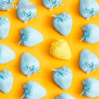 Close-Up Of Colorful Strawberries On Yellow Background - gettyimageskorea