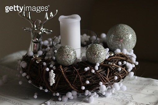 Close-Up Of Advent Wreath On Table During Christmas - gettyimageskorea