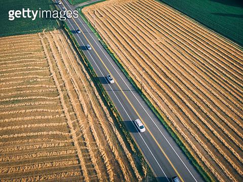 Aerial view of rural road or highway - gettyimageskorea