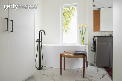 Home showcase bathroom with soaking tub - gettyimageskorea