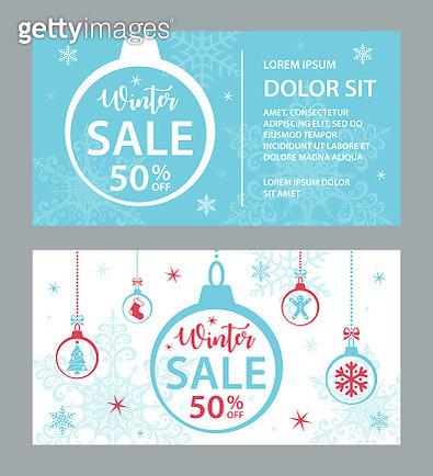 Winter Sale Cards Template - Vector - gettyimageskorea