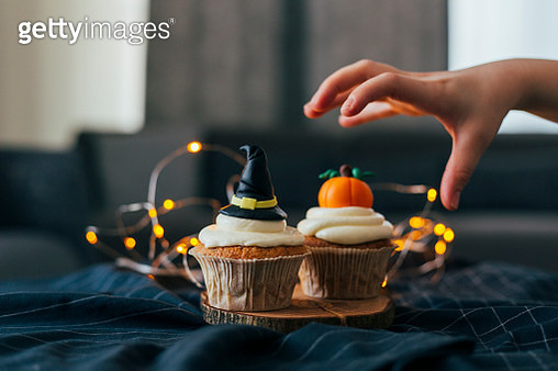 Witch Hat and Pumpkin Cupcakes - gettyimageskorea