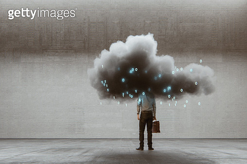 Cloud computing businessman. This is entirely 3D generated image. - gettyimageskorea