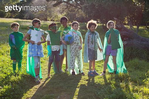Group of Eco warrior children together in nature - gettyimageskorea