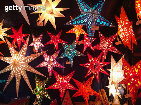 Starshaped lanterns on Christmas Market in Nurnberg, Bavaria, Germany - gettyimageskorea