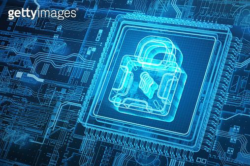 Hologram security lock and circuit board - gettyimageskorea
