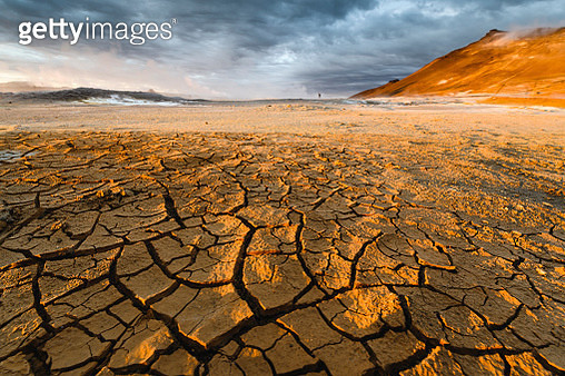Textured cracked mud landscape, Iceland - gettyimageskorea