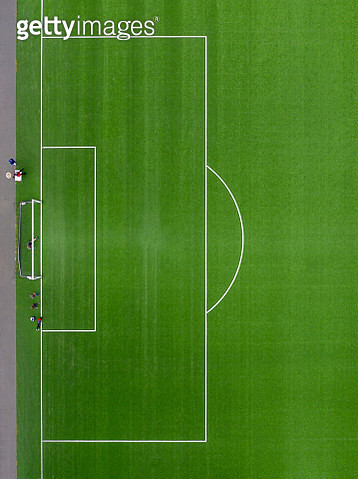 Teens practicing football. Football field in a suburb of Reykjavik, Iceland.  This image is shot using a drone. - gettyimageskorea