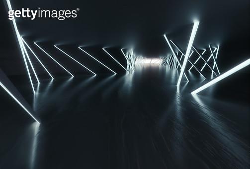 Dark empty futuristic corridor - gettyimageskorea
