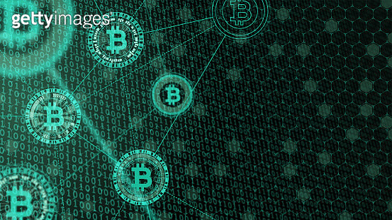 Cryptocurrency concept [Bitcoin in binary code] - gettyimageskorea