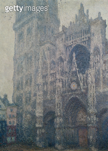 <b>Title</b> : Rouen Cathedral, West Portal, Grey Weather, 1894 (oil on canvas)<br><b>Medium</b> : oil on canvas<br><b>Location</b> : Musee des Beaux-Arts, Rouen, France<br> - gettyimageskorea