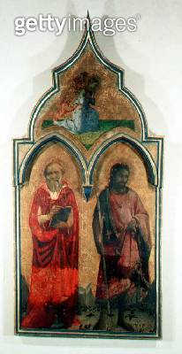 <b>Title</b> : SS. Jerome and John the Baptist, side panel from The Madonna and Child with the Holy Trinity Tabernacle, c.1430 (tempera on pane<br><b>Medium</b> : tempera on panel<br><b>Location</b> : Galleria degli Uffizi, Florence, Italy<br> - gettyimageskorea