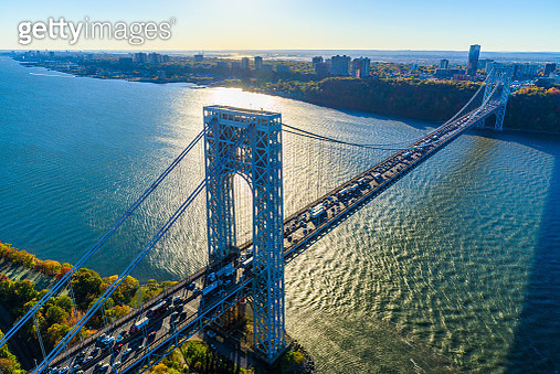 George Washington Bridge, NYC, rush hour, view from helicopter, silhouette - gettyimageskorea