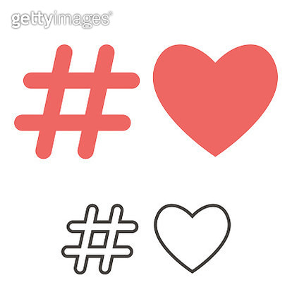 Social media heart shape and hashtag - gettyimageskorea