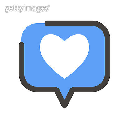 Vector illustration of a social media heart shape inside a speech bubble - gettyimageskorea